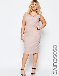 Платье-футляр с V-образным вырезом ASOS CURVE - Телесный
