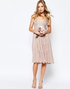 Декорированное платье миди на бретельках ASOS WEDDING - Mink