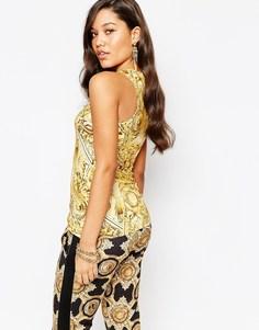 Майка с сеточкой и барочным принтом Versace Jeans - Мульти