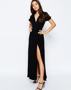 Чайное платье макси с запахом ASOS - Черный