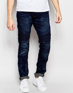Байкерские джинсы True Religion Rocco - Midnight black (черный)