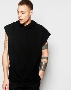 Удлиненная футболка-oversize с капюшоном и боковыми разрезами ASOS - Черный