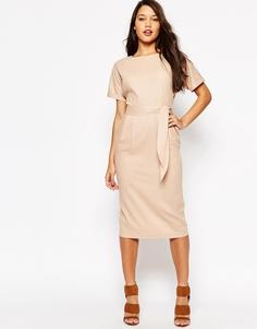 Льняное платье с поясом ASOS - Телесный