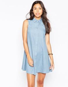 Платье-рубашка без рукавов из ткани шамбре Influence - Синий