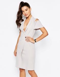 Платье-блейзер с открытыми плечами Missguided - Серый