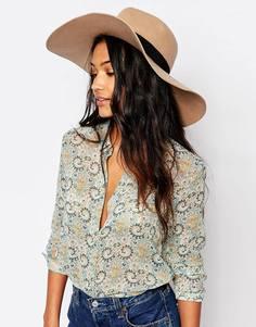 Мягкая фетровая шляпа с широкими полями и контрастной лентой Glamorous - Кэмел