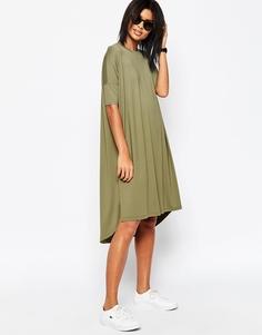 Свободное платье-футболка с закругленной кромкой ASOS - Хаки