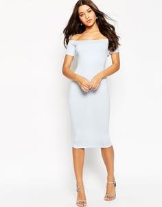 Облегающее платье миди с широким вырезом и короткими рукавами ASOS - Бледно-синий