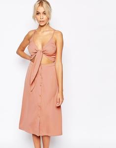 Платье миди 2 в 1 с бантом спереди Fashion Union - Розовый
