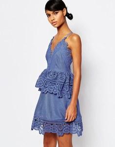 Кружевное платье миди с ремешками сзади Self Portrait - Васильковый синий
