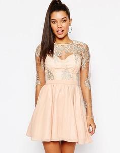 Платье для выпускного с кружевными рукавами Missguided - Телесный