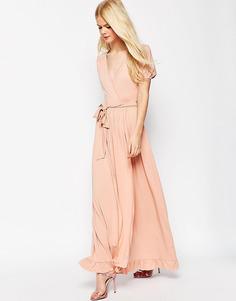 Чайное платье макси с запахом ASOS - Розовый