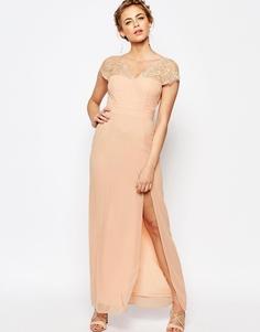 Кружевное платье макси с V-образным вырезом сзади Elise Ryan - Телесный