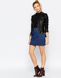 Короткая джинсовая юбка-трапеция Boohoo - Indigo - индиго