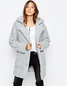 Плюшевое пальто Noisy May - Sky grey