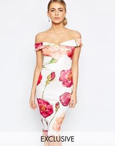 Платье-футляр бандо с цветочным оversize-принтом Hope and Ivy - Pink multi
