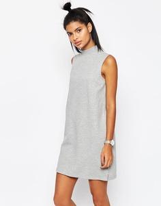 Трикотажное платье без рукавов с высокой горловиной ASOS - Серый