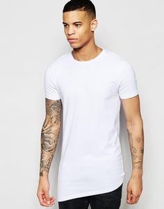 Удлиненная футболка с ассиметричной кромкой ASOS - Белый