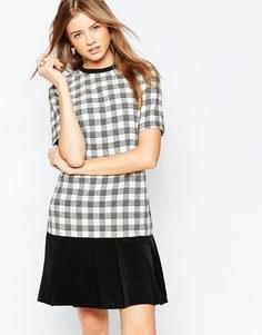 Платье в клетку с плиссированной юбкой Gestuz Louise - Черный1