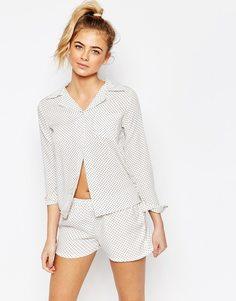 Пижама с рубашкой и шортами в горошек Boohoo - Кремовый