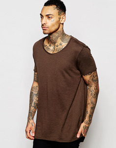 Сверхдлинная удлиненная меланжевая футболка коричневого цвета с необработанным овальным вырезом ASOS - Кофе по-турецки