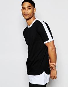Ультраудлиненная футболка с монохромной отделкой и контрастным подолом ASOS