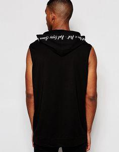 Длинная oversize-футболка без рукавов с принтом на капюшоне ASOS - Черный