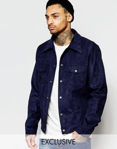 Темно-синяя куртка в стиле вестерн из искусственной замши Liquor & Poker - Темно-синий
