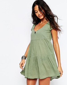 Ярусное пляжное платье с присборенной юбкой ASOS - Хаки