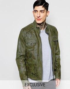 Кожаная байкерская куртка с карманами Black Dust - Зеленый