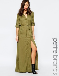 Платье макси в стиле милитари Boohoo Petite Deborah - Хаки