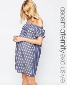 Хлопковое платье для беременных с принтом в полоску и открытыми плечами с бантиками ASOS Maternity - Мульти