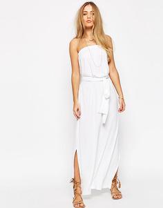 Длинное платье бандо с поясом ASOS - Белый