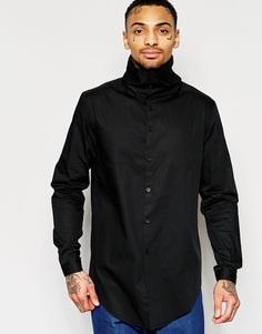 Рубашка с длинными рукавами и воротником-трубой ASOS Black - Черный