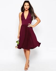 Плиссированное платье миди с драпировкой сзади ASOS WEDDING - Темно-бордовый