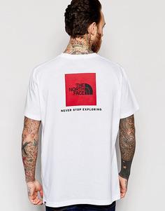 Футболка с красным квадратным логотипом The North Face - Белый