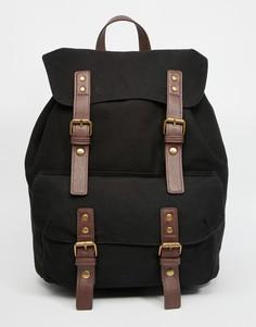 Черный брезентовый рюкзак с контрастными лямками ASOS - Черный
