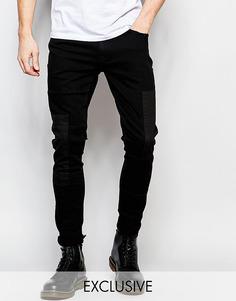 Черные зауженные джинсы с накладками Brooklyn Supply Co - Выбеленный черный