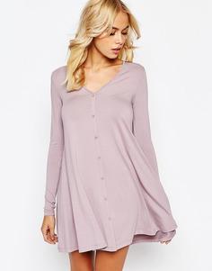 Свободное платье на пуговицах с длинными рукавами ASOS - Пыльно-лиловый
