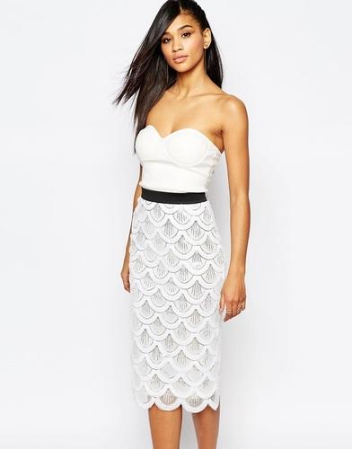 Платье миди 2-в-1 с пайетками и фактурной отделкой по краю Rare London - Белый