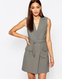 Полосатое платье-блейзер с поясом и запахом Missguided - Серый