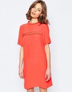 Цельнокройное платье с оборками ASOS - Коралловый
