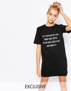 Трикотажное платье-футболка с принтом Adolescent Clothing - Черный