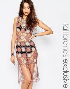 Цельнокройное платье из искусственной замши с бахромой True Decadence Tall - Blush