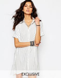 Oversize платье-рубашка в тонкую полоску Y.A.S - Черно-белые полоски