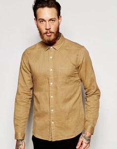 Серая льняная рубашка с длинными рукавами ASOS Laundered - Stone
