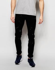 Зауженные джинсы с брызгами краски Hero's Heroine - Черный