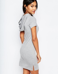 Платье-футболка с капюшоном Boohoo - Серый меланж