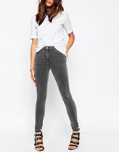 Зауженные серые джинсы с завышенной талией ASOS Ridley - Серый