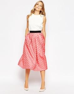 Плиссированная юбка миди Closet - Оранжевый